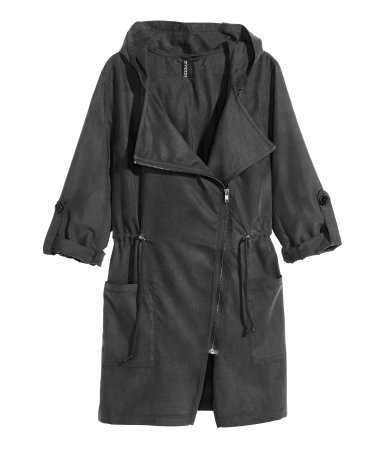 Parka - pattern: plain; collar: asymmetric biker; style: parka; length: mid thigh; predominant colour: charcoal; occasions: casual, creative work; fit: straight cut (boxy); fibres: polyester/polyamide - mix; waist detail: belted waist/tie at waist/drawstring; sleeve length: long sleeve; sleeve style: standard; collar break: high/illusion of break when open; pattern type: fabric; texture group: woven light midweight; trends: utilitarian chic; season: s/s 2015; wardrobe: basic
