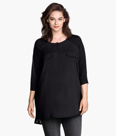 + Tunic - neckline: round neck; pattern: plain; length: below the bottom; style: tunic; bust detail: subtle bust detail; predominant colour: black; occasions: casual, creative work; fibres: viscose/rayon - 100%; fit: loose; back detail: longer hem at back than at front; sleeve length: 3/4 length; sleeve style: standard; texture group: cotton feel fabrics; pattern type: fabric; season: s/s 2015; wardrobe: basic