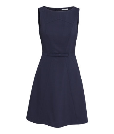 Sleeveless Dress - neckline: slash/boat neckline; pattern: plain; sleeve style: sleeveless; predominant colour: navy; occasions: casual, evening, work; length: just above the knee; fit: fitted at waist & bust; style: fit & flare; sleeve length: sleeveless; pattern type: fabric; texture group: other - light to midweight; season: s/s 2015; wardrobe: basic