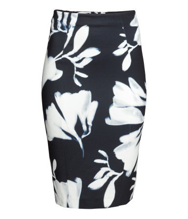 Pencil Skirt - style: pencil; fit: tailored/fitted; waist: high rise; secondary colour: white; predominant colour: black; occasions: evening, occasion, creative work; length: on the knee; fibres: polyester/polyamide - stretch; pattern type: fabric; pattern: florals; texture group: other - light to midweight; season: s/s 2015; pattern size: big & busy (bottom); wardrobe: highlight