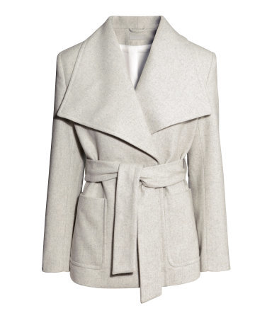 Jacket In A Wool Blend - pattern: plain; length: below the bottom; collar: wide lapels; style: double breasted; predominant colour: light grey; occasions: casual, work, creative work; fit: tailored/fitted; fibres: wool - mix; waist detail: belted waist/tie at waist/drawstring; sleeve length: long sleeve; sleeve style: standard; collar break: medium; pattern type: fabric; texture group: woven light midweight; season: s/s 2015