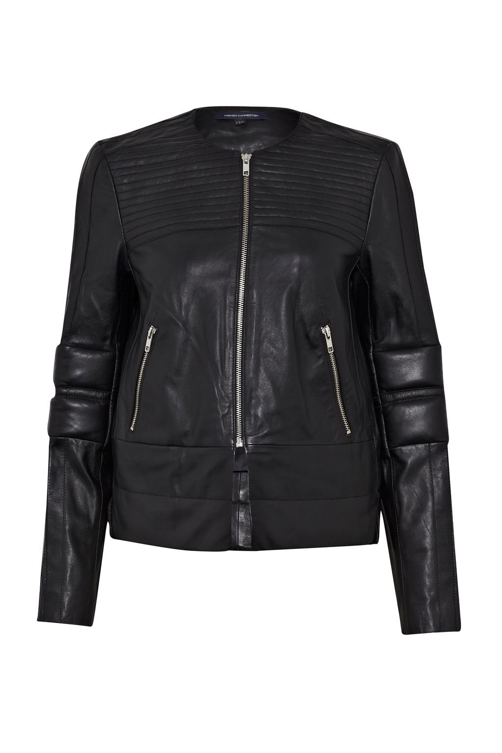 Jetson Leather Biker Jacket, Black - pattern: plain; style: biker; collar: standard biker; fit: slim fit; predominant colour: black; occasions: casual, evening, creative work; length: standard; fibres: leather - 100%; sleeve length: long sleeve; sleeve style: standard; texture group: leather; collar break: high/illusion of break when open; pattern type: fabric; season: s/s 2015; wardrobe: basic