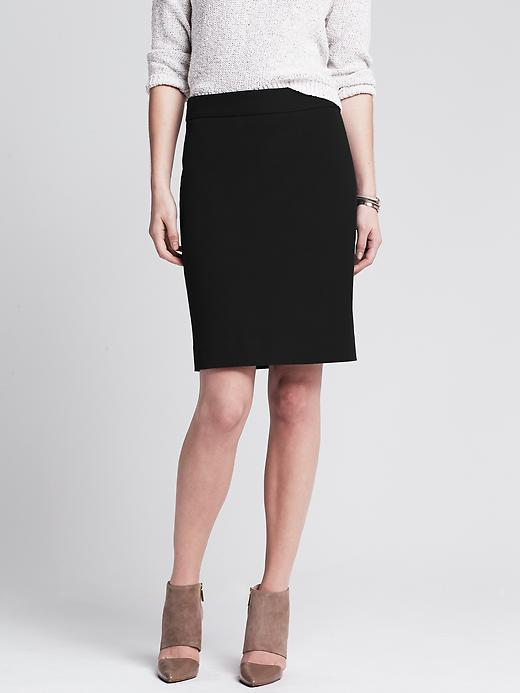 Sloan Fit Pencil Skirt Br Black - pattern: plain; style: pencil; fit: tailored/fitted; waist: high rise; predominant colour: black; occasions: work; length: just above the knee; fibres: cotton - mix; pattern type: fabric; texture group: woven light midweight; season: s/s 2015; wardrobe: basic