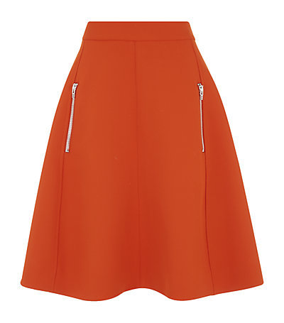 Zip Pocket A Line Skirt - pattern: plain; fit: loose/voluminous; waist: high rise; predominant colour: bright orange; occasions: casual, creative work; length: just above the knee; style: a-line; fibres: polyester/polyamide - 100%; pattern type: fabric; texture group: woven light midweight; season: s/s 2015; wardrobe: highlight