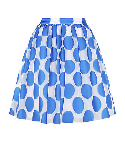 Camille Polka Dot Pouf Skirt - fit: loose/voluminous; waist: high rise; pattern: polka dot; secondary colour: white; predominant colour: diva blue; occasions: casual, occasion, creative work; length: just above the knee; style: a-line; fibres: polyester/polyamide - mix; texture group: sheer fabrics/chiffon/organza etc.; pattern type: fabric; season: s/s 2015; pattern size: big & busy (bottom)
