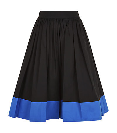 Nako Colourblock Midi Skirt - length: below the knee; style: full/prom skirt; fit: loose/voluminous; waist: high rise; secondary colour: royal blue; predominant colour: black; occasions: casual, occasion, creative work; fibres: cotton - 100%; hip detail: adds bulk at the hips; texture group: cotton feel fabrics; pattern type: fabric; pattern: colourblock; season: s/s 2015; wardrobe: highlight