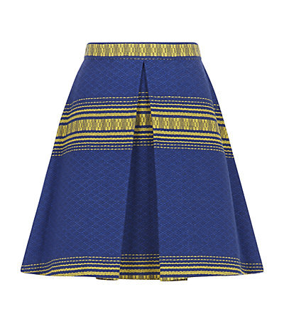 Russo Woven Stripe Skirt - length: mid thigh; fit: loose/voluminous; waist: high rise; predominant colour: royal blue; secondary colour: yellow; occasions: casual, occasion, creative work; style: a-line; pattern type: fabric; pattern: patterned/print; texture group: woven light midweight; season: s/s 2015; pattern size: standard (bottom); wardrobe: highlight
