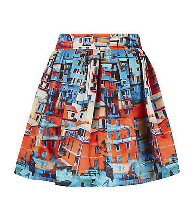 Stora Butterfly Paradise Full Skirt - length: mid thigh; style: full/prom skirt; fit: loose/voluminous; waist: high rise; occasions: casual, creative work; fibres: polyester/polyamide - 100%; hip detail: adds bulk at the hips; predominant colour: multicoloured; pattern type: fabric; pattern: patterned/print; texture group: woven light midweight; season: s/s 2015; pattern size: big & busy (bottom); multicoloured: multicoloured; wardrobe: highlight
