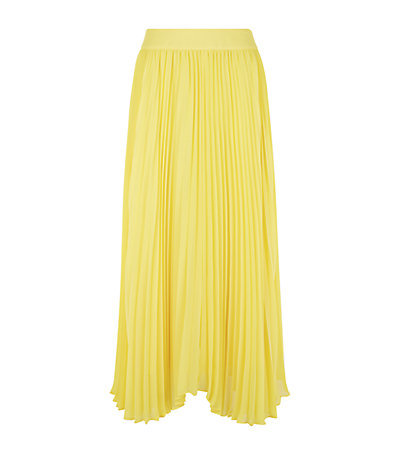 Pleated Maxi Skirt - pattern: plain; fit: loose/voluminous; style: pleated; waist: high rise; predominant colour: yellow; occasions: casual, evening, occasion, creative work; length: floor length; fibres: polyester/polyamide - 100%; texture group: sheer fabrics/chiffon/organza etc.; pattern type: fabric; season: s/s 2015; wardrobe: highlight