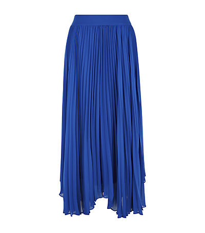 Pleated Maxi Skirt - pattern: plain; length: ankle length; fit: loose/voluminous; style: pleated; waist: high rise; predominant colour: royal blue; occasions: evening, occasion, creative work; fibres: polyester/polyamide - 100%; hip detail: adds bulk at the hips; waist detail: feature waist detail; texture group: sheer fabrics/chiffon/organza etc.; pattern type: fabric; season: s/s 2015; wardrobe: highlight