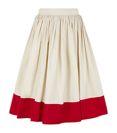 Nako Colourblock Midi Skirt - length: below the knee; style: full/prom skirt; fit: loose/voluminous; waist: high rise; predominant colour: ivory/cream; secondary colour: true red; occasions: evening, occasion, creative work; fibres: cotton - 100%; hip detail: soft pleats at hip/draping at hip/flared at hip; texture group: cotton feel fabrics; pattern type: fabric; pattern: colourblock; season: s/s 2015; wardrobe: highlight