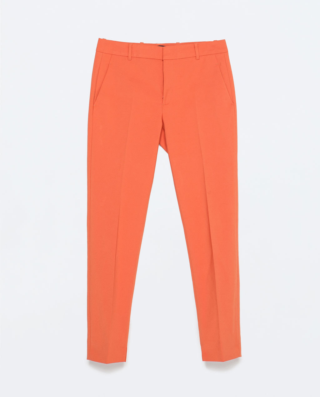 Cotton Cigarette Trousers - pattern: plain; style: capri; waist: low rise; predominant colour: bright orange; occasions: casual, evening, creative work; length: ankle length; fibres: cotton - mix; fit: slim leg; pattern type: fabric; texture group: woven light midweight; season: s/s 2015; wardrobe: highlight