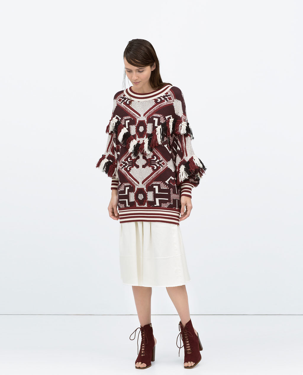 Fringed Sweater - neckline: slash/boat neckline; length: below the bottom; sleeve style: balloon; style: standard; predominant colour: burgundy; occasions: casual; fibres: cotton - 100%; fit: loose; sleeve length: long sleeve; texture group: knits/crochet; pattern type: knitted - other; pattern: patterned/print; embellishment: fringing; season: s/s 2015; pattern size: big & busy (top); multicoloured: multicoloured; wardrobe: highlight; embellishment location: bust