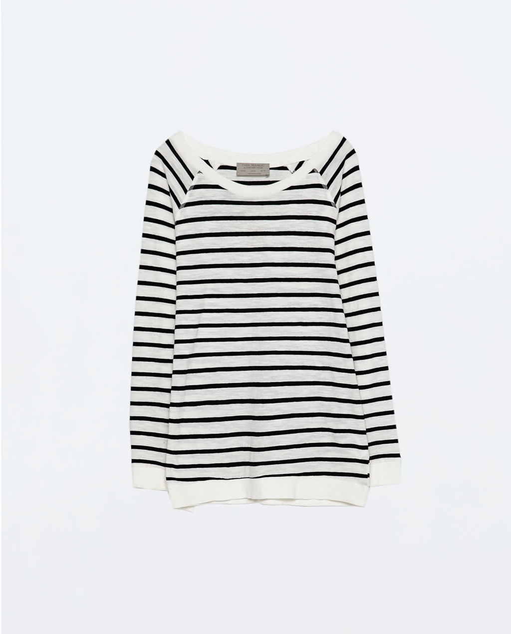 Raglan Sleeve T Shirt - sleeve style: raglan; pattern: horizontal stripes; length: below the bottom; style: t-shirt; secondary colour: ivory/cream; predominant colour: black; occasions: casual, creative work; neckline: scoop; fibres: cotton - 100%; fit: loose; sleeve length: long sleeve; pattern type: fabric; texture group: jersey - stretchy/drapey; season: s/s 2015; pattern size: big & busy (top); wardrobe: basic