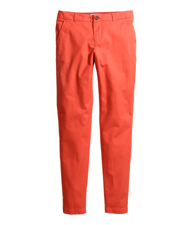 Slacks Tapered Fit - length: standard; pattern: plain; style: peg leg; pocket detail: traditional 5 pocket; waist: mid/regular rise; predominant colour: bright orange; occasions: casual, creative work; fibres: cotton - mix; fit: tapered; pattern type: fabric; texture group: woven light midweight; season: s/s 2015; wardrobe: highlight
