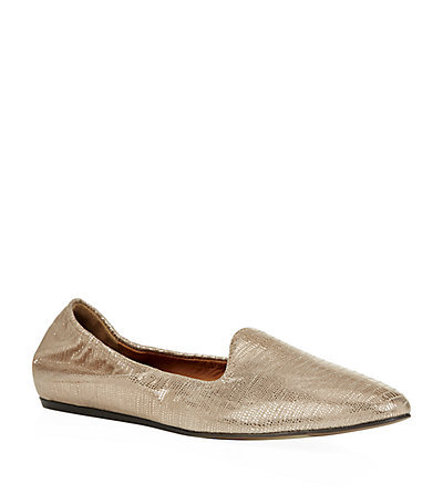 Metallic Snake Print Carpet Slippers Bronze - predominant colour: gold; occasions: casual, evening, creative work; material: animal skin; heel height: flat; toe: round toe; style: loafers; finish: metallic; pattern: plain; season: s/s 2015; wardrobe: highlight