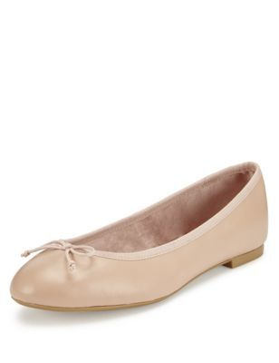 Leather Ballerina Pumps With Insolia Flex - predominant colour: nude; occasions: casual, creative work; material: leather; heel height: flat; toe: round toe; style: ballerinas / pumps; finish: plain; pattern: plain; season: s/s 2015; wardrobe: basic