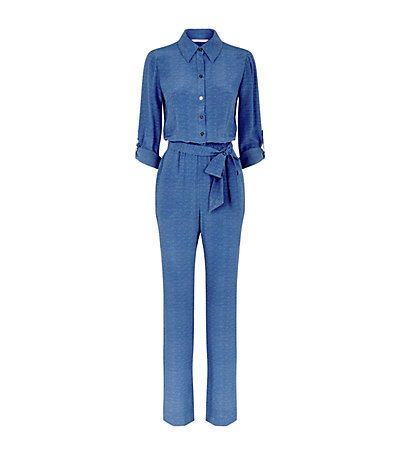 Lori Print Jumpsuit - length: standard; neckline: shirt collar/peter pan/zip with opening; waist detail: belted waist/tie at waist/drawstring; predominant colour: denim; occasions: evening, occasion, creative work; fit: body skimming; fibres: silk - 100%; sleeve length: half sleeve; sleeve style: standard; texture group: silky - light; style: jumpsuit; pattern type: fabric; pattern: patterned/print; season: s/s 2015; wardrobe: highlight