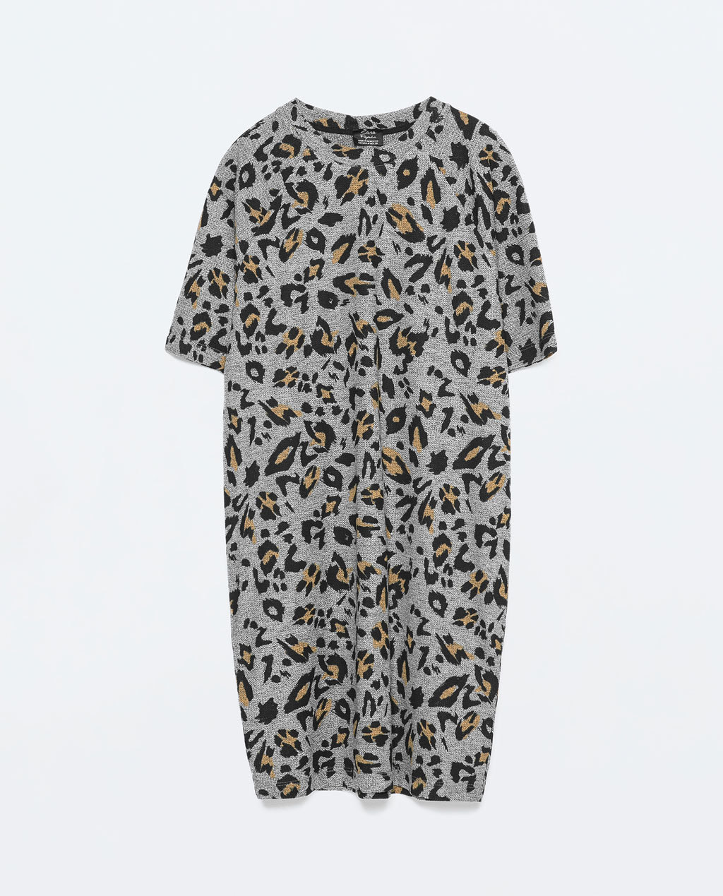 Printed Dress - style: jumper dress; length: mid thigh; fit: loose; predominant colour: mid grey; secondary colour: black; occasions: casual, creative work; neckline: crew; sleeve length: short sleeve; sleeve style: standard; pattern type: fabric; pattern size: standard; pattern: animal print; texture group: jersey - stretchy/drapey; fibres: viscose/rayon - mix; season: s/s 2015; wardrobe: highlight