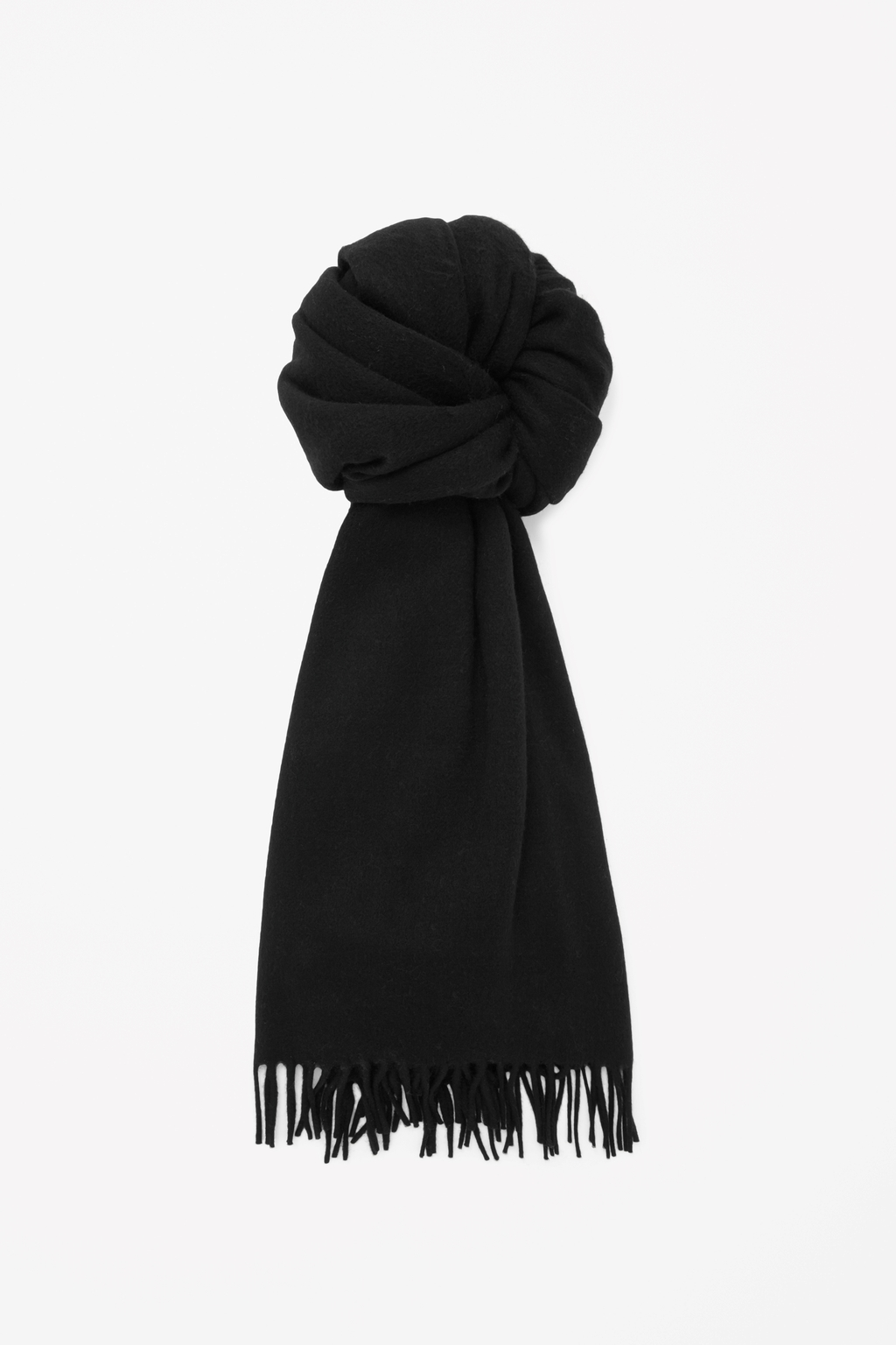 Oversized Wool Scarf - predominant colour: black; occasions: casual, creative work; type of pattern: standard; style: regular; size: large; material: fabric; embellishment: fringing; pattern: plain; season: s/s 2015