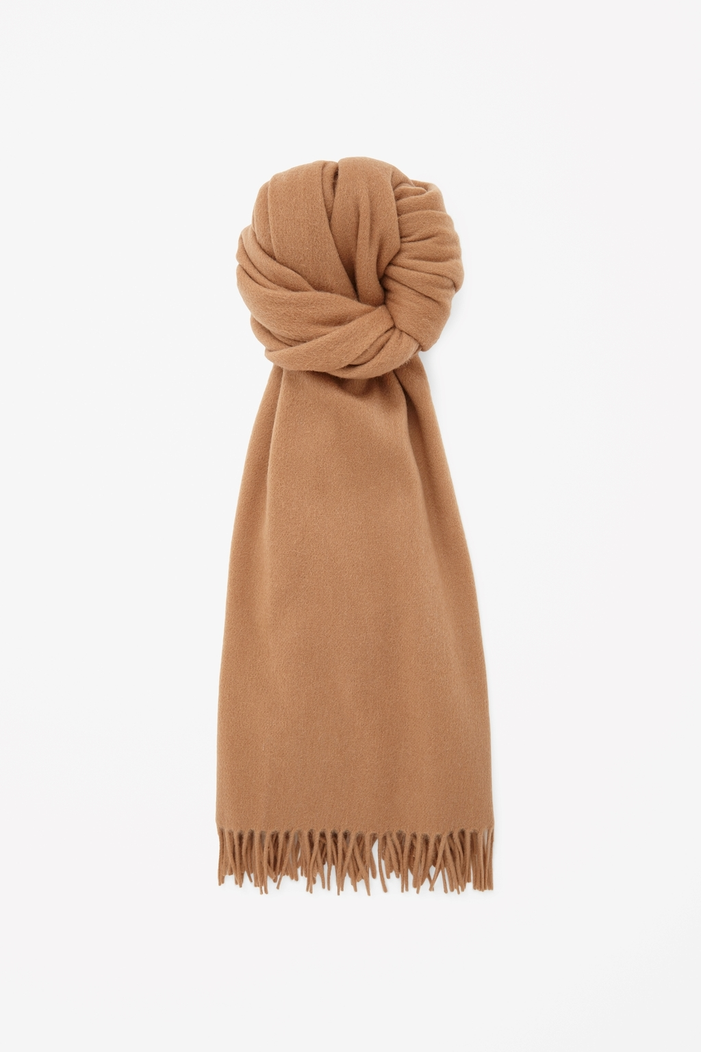 Oversized Wool Scarf - predominant colour: camel; occasions: casual, creative work; type of pattern: standard; style: regular; size: large; material: fabric; embellishment: fringing; pattern: plain; season: s/s 2015; wardrobe: basic