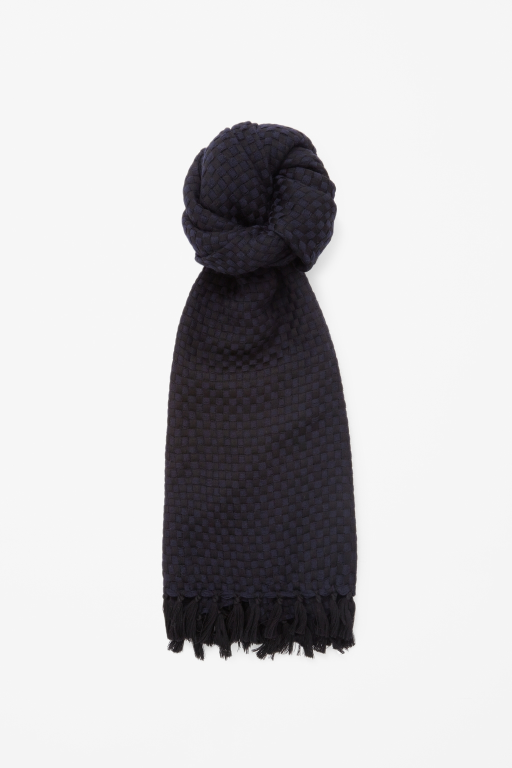 Woven Wool Scarf - predominant colour: navy; secondary colour: black; occasions: casual, creative work; type of pattern: standard; style: regular; size: standard; material: fabric; embellishment: fringing; pattern: plain; season: s/s 2015; wardrobe: basic