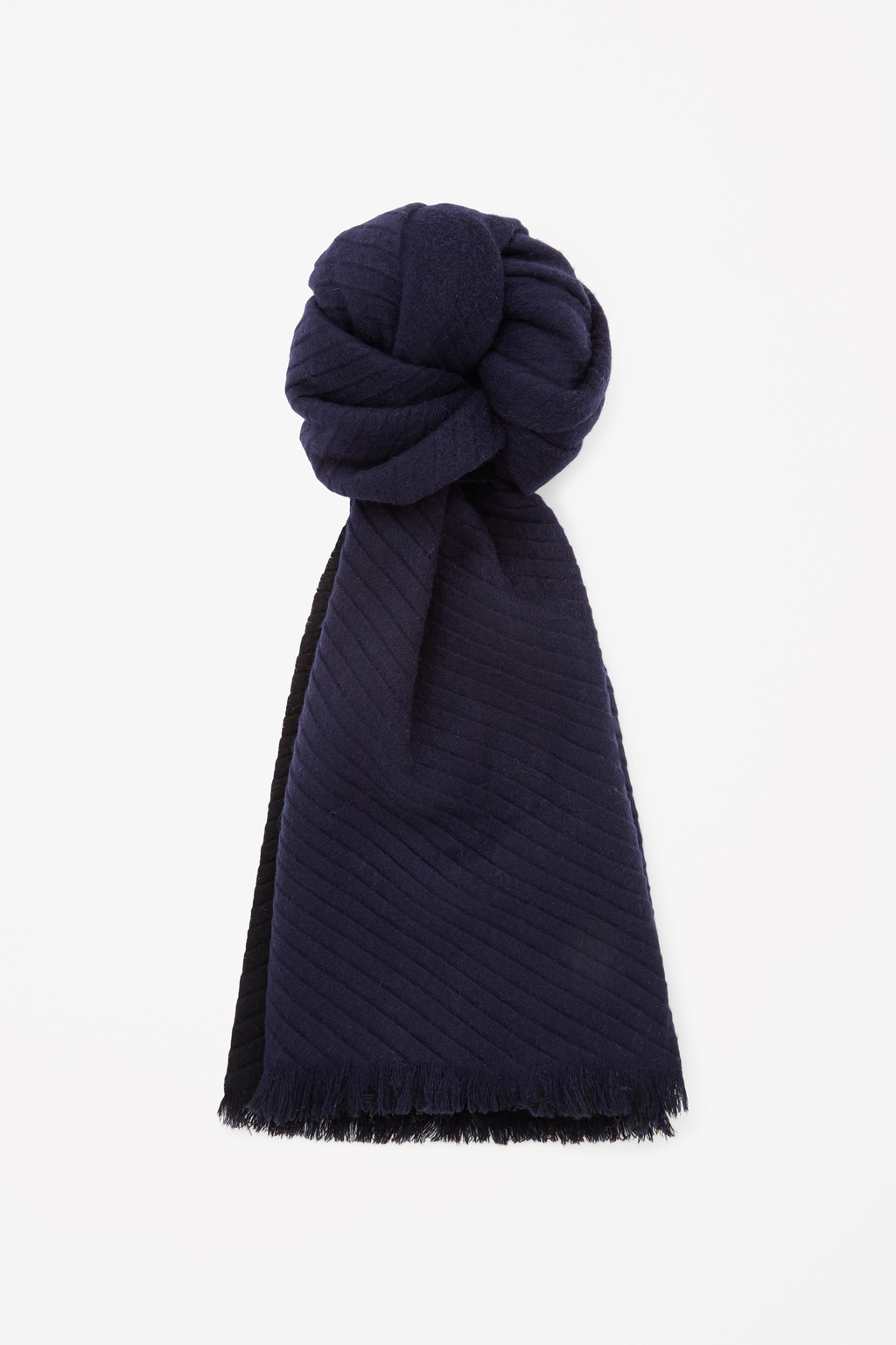 Pleated Wool Scarf - predominant colour: navy; secondary colour: black; occasions: casual, creative work; type of pattern: standard; style: regular; size: standard; material: fabric; pattern: plain; season: s/s 2015; wardrobe: basic