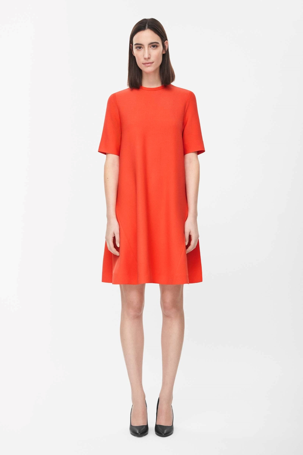 Flared A Line Dress - style: a-line; length: mid thigh; fit: loose; pattern: plain; predominant colour: bright orange; occasions: evening, creative work; fibres: viscose/rayon - stretch; neckline: crew; sleeve length: short sleeve; sleeve style: standard; pattern type: fabric; texture group: jersey - stretchy/drapey; season: s/s 2015; wardrobe: highlight