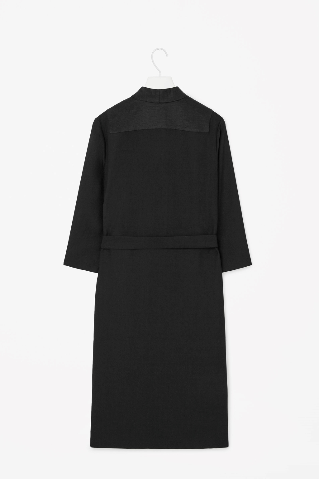 Long Blazer Dress - style: shift; pattern: plain; neckline: high neck; predominant colour: black; occasions: evening, work, creative work; length: just above the knee; fit: straight cut; fibres: polyester/polyamide - 100%; sleeve length: 3/4 length; sleeve style: standard; pattern type: fabric; texture group: woven light midweight; season: s/s 2015
