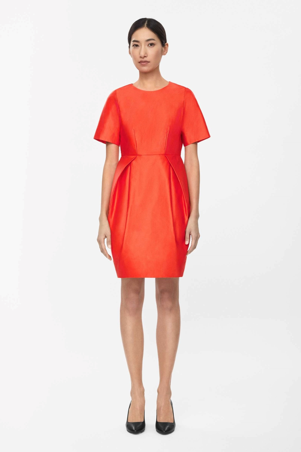 Dress With Pleated Skirt - length: mid thigh; fit: tailored/fitted; pattern: plain; style: tulip; predominant colour: bright orange; occasions: evening, occasion; fibres: cotton - 100%; neckline: crew; sleeve length: short sleeve; sleeve style: standard; texture group: structured shiny - satin/tafetta/silk etc.; pattern type: fabric; season: s/s 2015