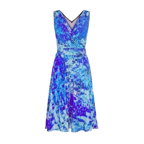 Cosmos Dress - style: faux wrap/wrap; neckline: low v-neck; sleeve style: sleeveless; back detail: low cut/open back; predominant colour: diva blue; secondary colour: turquoise; occasions: evening, occasion; length: on the knee; fit: fitted at waist & bust; fibres: silk - 100%; hip detail: soft pleats at hip/draping at hip/flared at hip; sleeve length: sleeveless; texture group: silky - light; pattern type: fabric; pattern size: big & busy; pattern: patterned/print; season: s/s 2015