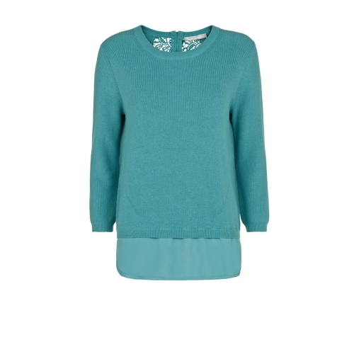 Indigo Jumper - neckline: round neck; pattern: plain; length: below the bottom; style: standard; predominant colour: teal; occasions: casual, creative work; fibres: cotton - mix; fit: slim fit; sleeve length: 3/4 length; sleeve style: standard; texture group: knits/crochet; pattern type: knitted - fine stitch; season: s/s 2015; wardrobe: highlight