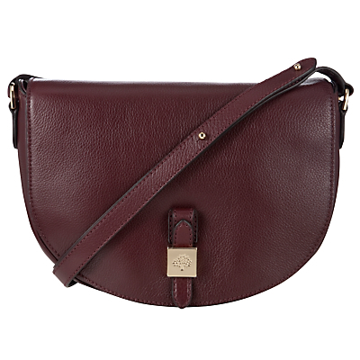 Tessie Satchel Soft Small Grain Leather Bag - predominant colour: burgundy; occasions: casual, creative work; type of pattern: standard; style: saddle; length: across body/long; size: standard; material: leather; pattern: plain; finish: plain; season: a/w 2015; wardrobe: highlight