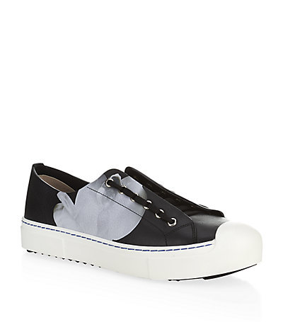 Flynn Polka Dot Flower Leather Sneakers - secondary colour: light grey; predominant colour: black; occasions: casual, creative work; material: leather; heel height: flat; toe: round toe; style: trainers; finish: plain; pattern: colourblock; shoe detail: platform with tread; season: s/s 2015; wardrobe: highlight