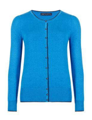 Bobble Button Tipped Cardigan - neckline: round neck; pattern: plain; predominant colour: diva blue; occasions: casual, creative work; length: standard; style: standard; fit: slim fit; sleeve length: long sleeve; sleeve style: standard; texture group: knits/crochet; pattern type: knitted - fine stitch; pattern size: standard; fibres: viscose/rayon - mix; season: s/s 2015