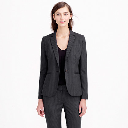 Campbell Blazer In Pinstripe Super 120s Wool - style: single breasted blazer; pattern: pinstripe; collar: standard lapel/rever collar; predominant colour: charcoal; occasions: work, creative work; length: standard; fit: tailored/fitted; fibres: wool - 100%; sleeve length: long sleeve; sleeve style: standard; collar break: medium; pattern type: fabric; pattern size: standard; texture group: woven light midweight; season: s/s 2015; wardrobe: investment