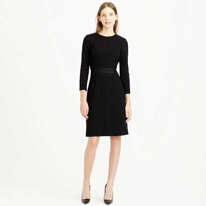 Petite Double Faced Wool Crepe Dress - style: shift; fit: tailored/fitted; pattern: plain; waist detail: fitted waist; predominant colour: black; occasions: evening, work, occasion, creative work; length: on the knee; fibres: wool - 100%; neckline: crew; sleeve length: 3/4 length; sleeve style: standard; texture group: crepes; pattern type: fabric; season: s/s 2015