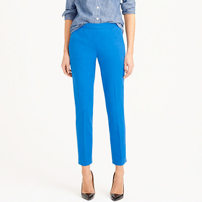Martie Pant In Bi Stretch Cotton - pattern: plain; waist: high rise; predominant colour: diva blue; occasions: work, creative work; length: ankle length; waist detail: narrow waistband; texture group: crepes; fit: slim leg; style: standard; season: s/s 2015