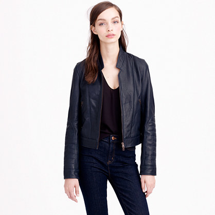 Collection Standing Collar Leather Jacket - pattern: plain; collar: round collar/collarless; style: bomber; predominant colour: navy; occasions: casual, evening, creative work; length: standard; fit: straight cut (boxy); fibres: leather - 100%; sleeve length: long sleeve; sleeve style: standard; texture group: leather; collar break: high; pattern type: fabric; season: s/s 2015; wardrobe: basic