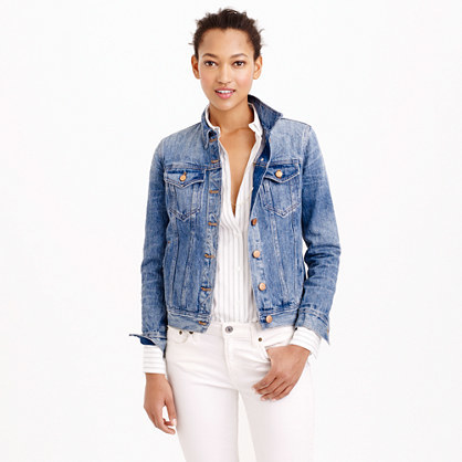 Classic Denim Jacket - pattern: plain; style: denim; predominant colour: denim; occasions: casual; length: standard; fit: straight cut (boxy); fibres: cotton - stretch; collar: shirt collar/peter pan/zip with opening; sleeve length: long sleeve; sleeve style: standard; texture group: denim; collar break: high/illusion of break when open; pattern type: fabric; season: s/s 2015; wardrobe: basic
