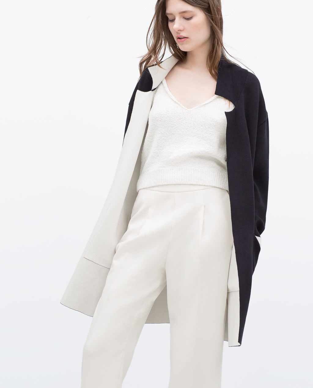 Double Sided Coat - style: single breasted; collar: standard lapel/rever collar; length: mid thigh; secondary colour: ivory/cream; predominant colour: black; occasions: casual, creative work; fit: straight cut (boxy); sleeve length: long sleeve; sleeve style: standard; collar break: medium; pattern type: fabric; pattern: colourblock; texture group: woven bulky/heavy; fibres: viscose/rayon - mix; season: s/s 2015