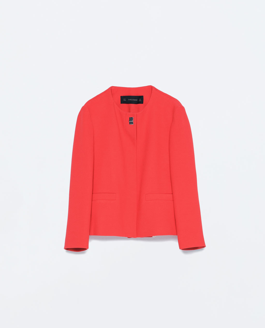 Short Crepe Jacket - pattern: plain; collar: round collar/collarless; style: boxy; predominant colour: true red; occasions: casual, evening, creative work; length: standard; fit: straight cut (boxy); fibres: polyester/polyamide - mix; sleeve length: long sleeve; sleeve style: standard; texture group: crepes; collar break: high; pattern type: fabric; season: s/s 2015