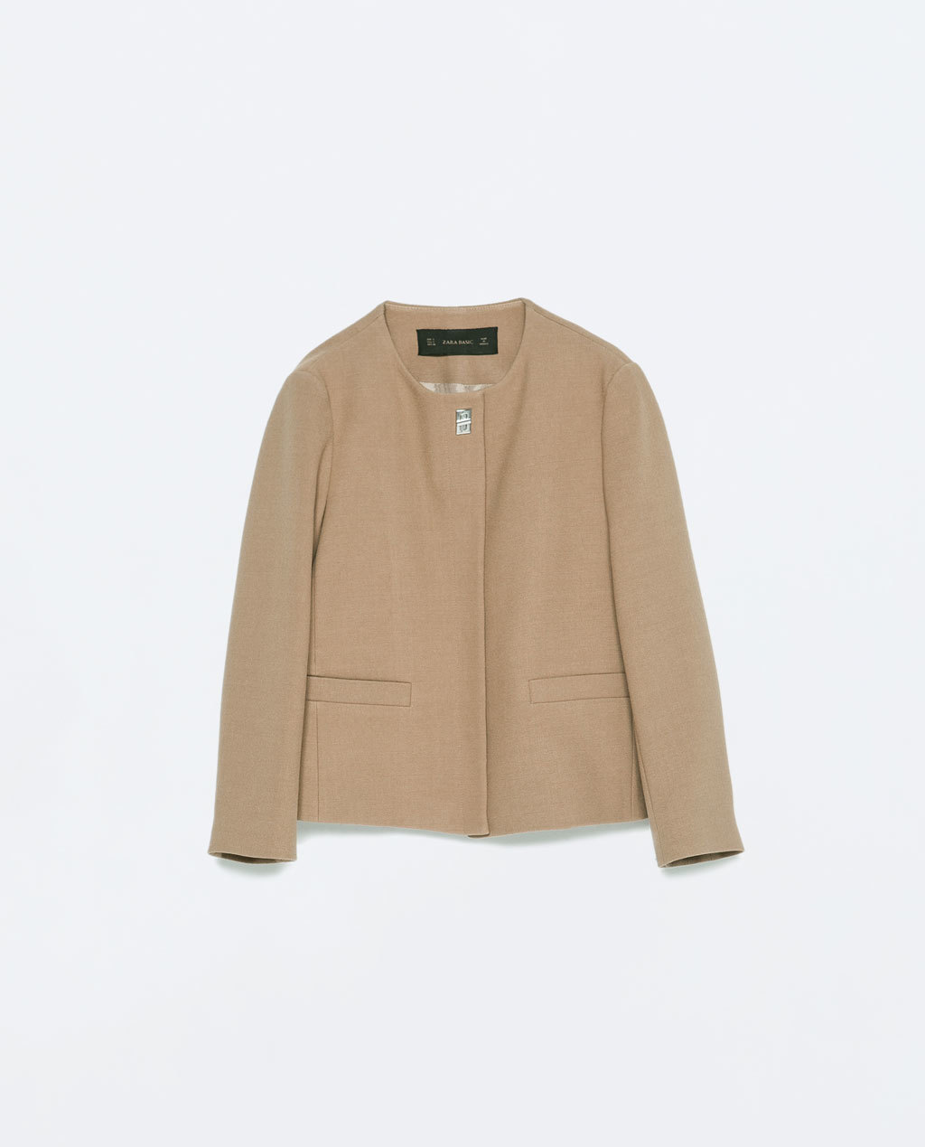 Short Crepe Jacket - pattern: plain; collar: round collar/collarless; style: boxy; predominant colour: camel; occasions: evening, work, creative work; length: standard; fit: straight cut (boxy); fibres: polyester/polyamide - stretch; sleeve length: long sleeve; sleeve style: standard; texture group: crepes; collar break: high; pattern type: fabric; season: s/s 2015; wardrobe: investment