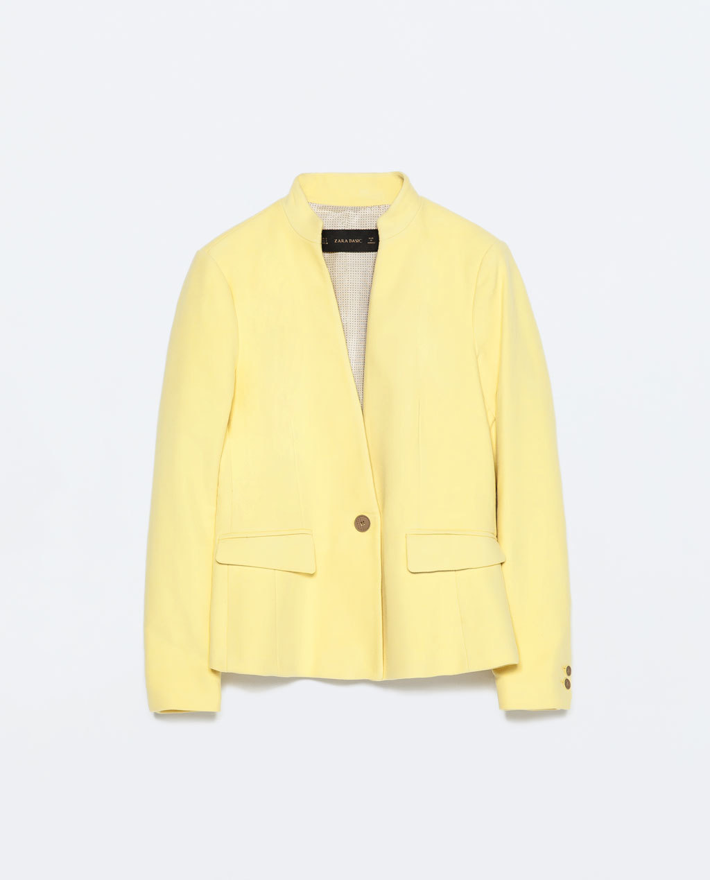 Velveteen Blazer With No Lapel - pattern: plain; style: single breasted blazer; collar: round collar/collarless; predominant colour: primrose yellow; occasions: evening, creative work; length: standard; fit: tailored/fitted; fibres: polyester/polyamide - 100%; sleeve length: long sleeve; sleeve style: standard; collar break: medium; pattern type: fabric; texture group: woven light midweight; season: s/s 2015; wardrobe: investment