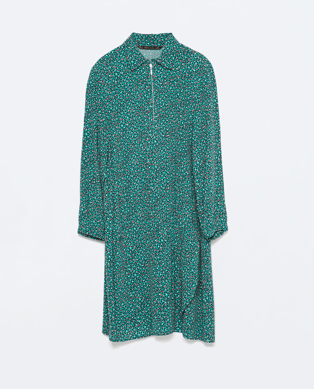 Zipped Crepe Shirtdress - style: shirt; neckline: shirt collar/peter pan/zip with opening; predominant colour: emerald green; occasions: casual, creative work; length: just above the knee; fit: body skimming; fibres: viscose/rayon - 100%; sleeve length: long sleeve; sleeve style: standard; texture group: crepes; pattern type: fabric; pattern size: big & busy; pattern: patterned/print; season: s/s 2015; wardrobe: highlight