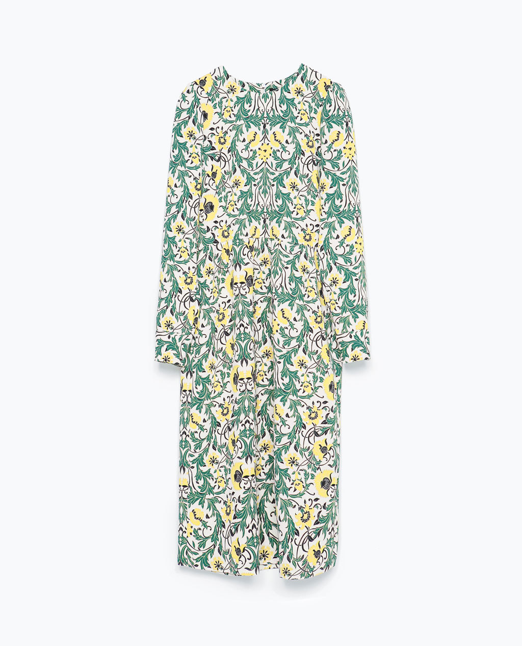 Gathered Seam Dress - style: tea dress; length: below the knee; neckline: round neck; secondary colour: yellow; predominant colour: emerald green; occasions: casual, occasion, creative work; fit: body skimming; fibres: polyester/polyamide - 100%; back detail: keyhole/peephole detail at back; sleeve length: long sleeve; sleeve style: standard; pattern type: fabric; pattern size: big & busy; pattern: florals; texture group: other - light to midweight; season: s/s 2015