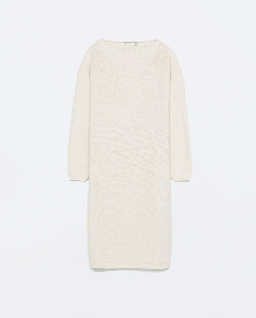 Tunic Dress - style: tunic; length: mid thigh; neckline: round neck; pattern: plain; predominant colour: ivory/cream; occasions: casual, creative work; fit: body skimming; fibres: cotton - 100%; sleeve length: 3/4 length; sleeve style: standard; texture group: crepes; pattern type: knitted - big stitch; pattern size: standard; season: s/s 2015; wardrobe: basic