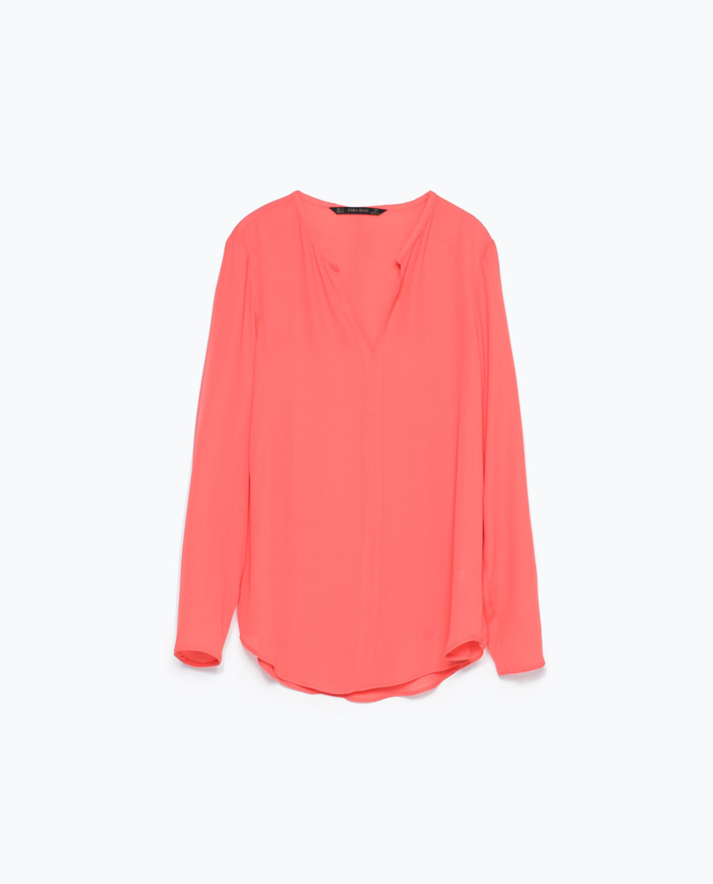 Shirt With Piped Neckline - pattern: plain; length: below the bottom; style: shirt; predominant colour: coral; occasions: casual, creative work; neckline: collarstand & mandarin with v-neck; fibres: polyester/polyamide - 100%; fit: straight cut; sleeve length: long sleeve; sleeve style: standard; pattern type: fabric; texture group: other - light to midweight; season: s/s 2015; wardrobe: highlight