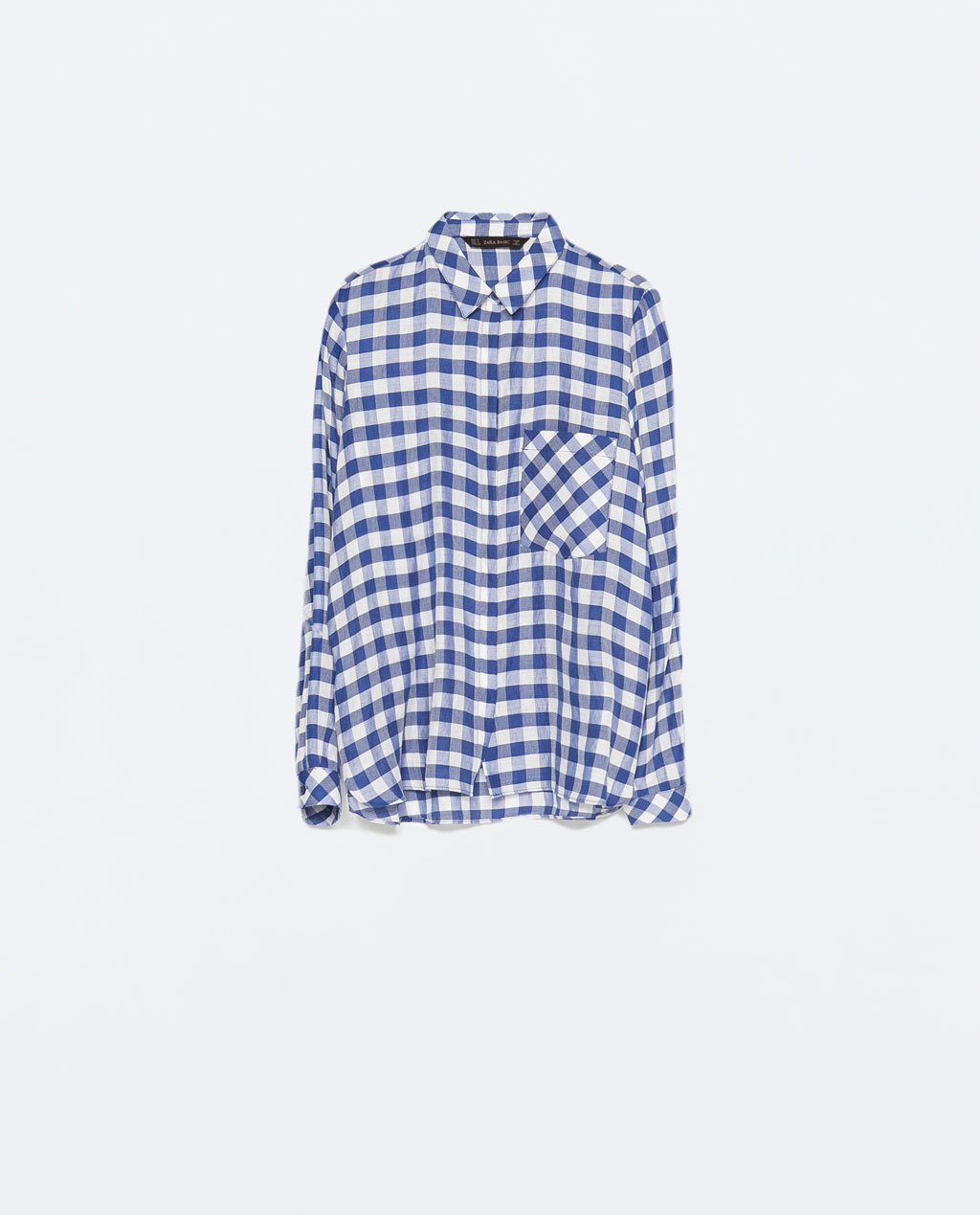 Gingham Checked Shirt - neckline: shirt collar/peter pan/zip with opening; pattern: checked/gingham; style: shirt; bust detail: subtle bust detail; secondary colour: white; predominant colour: navy; occasions: casual, creative work; length: standard; fit: loose; sleeve length: long sleeve; sleeve style: standard; pattern type: fabric; pattern size: standard; texture group: other - light to midweight; fibres: viscose/rayon - mix; season: s/s 2015; wardrobe: highlight