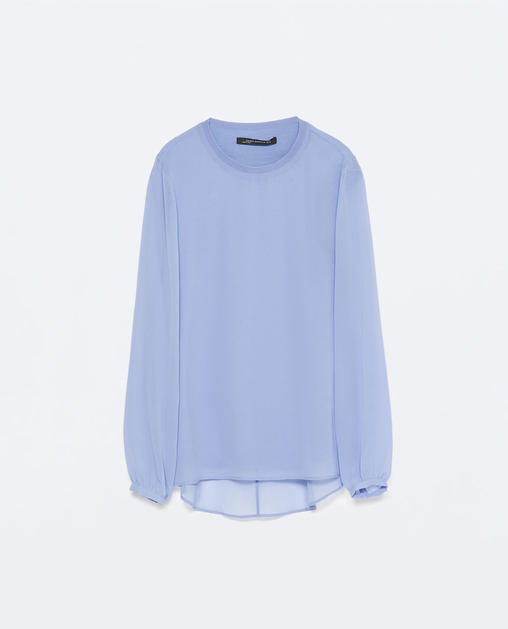 Long Sleeve Top - neckline: round neck; pattern: plain; length: below the bottom; predominant colour: pale blue; occasions: casual, work, creative work; style: top; fibres: viscose/rayon - stretch; fit: body skimming; sleeve length: long sleeve; sleeve style: standard; texture group: sheer fabrics/chiffon/organza etc.; pattern type: fabric; season: s/s 2015; wardrobe: highlight
